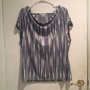 Liz Claiborne- Blue and White Striped Blouse